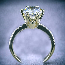 Load image into Gallery viewer, 18K YELLOW GOLD DIAMOND ENGAGEMENT RING - 1.7 CARAT ROUND BRILLIANT CUT #J99956