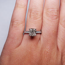 Load image into Gallery viewer, 2.5 Carat Side Hidden Halo Diamond Engagement Ring - 14K White Gold #J99142