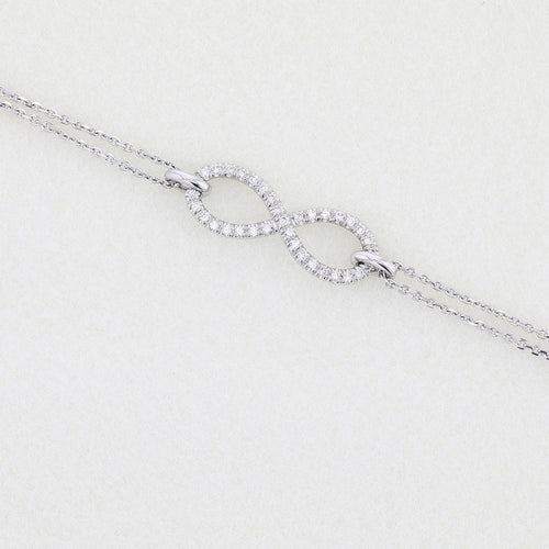 Infinity Style Bracelet set with Diamonds on 14K White Gold #J99977