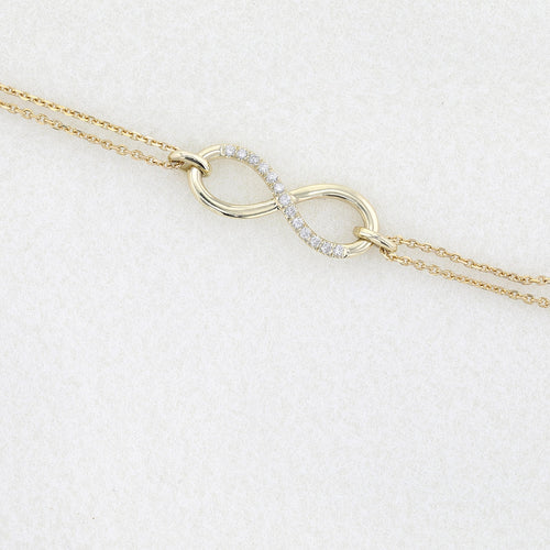 14K Yellow Gold Infinity Bracelet style set with Diamond #J99976