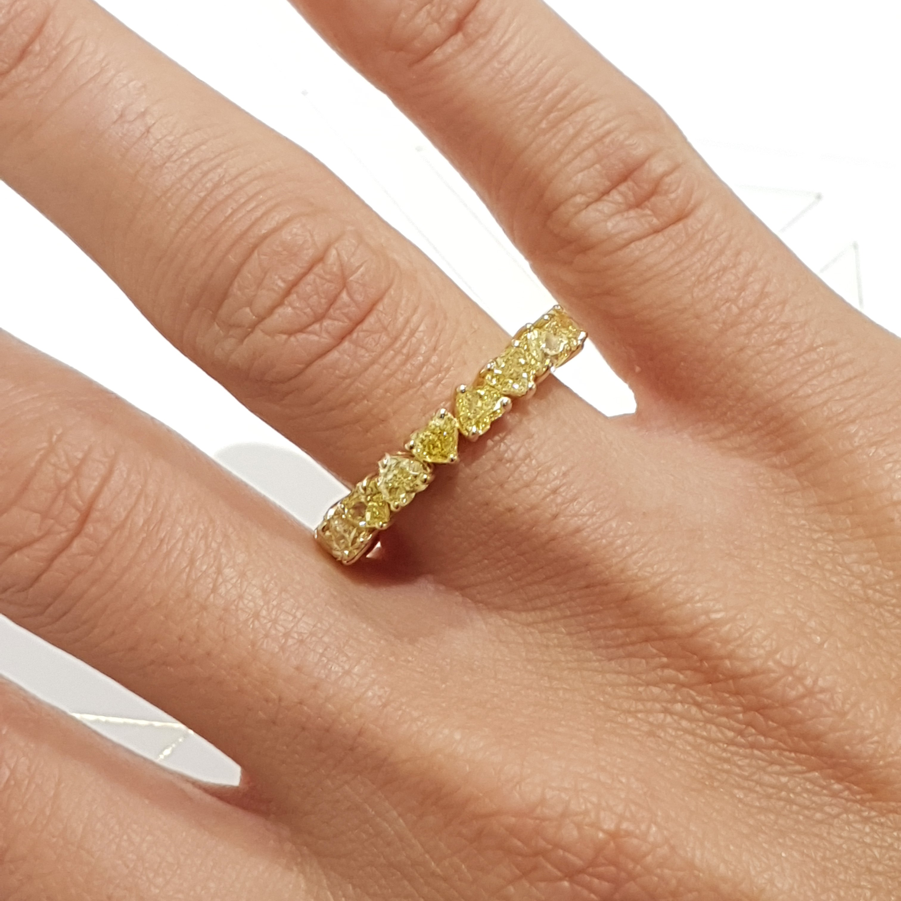 18K Yellow Gold Heart Shape Diamonds Eternity Ring 4.28 Carat Natural Fancy Yellow #PT1349