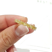 Load image into Gallery viewer, 18K Yellow Gold Heart Shape Diamonds Eternity Ring 4.28 Carat Natural Fancy Yellow #PT1349