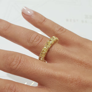 18K Yellow Gold Diamond Radiant Shape Eternity Ring 8.9 Carat Natural Fancy Yellow #PT1447