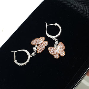 0.87 Carat Fancy Pink - 18K Rose Gold Butterfly Design Earrings #PT1450