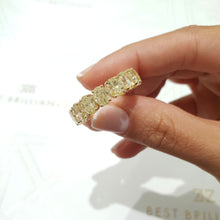 Load image into Gallery viewer, 18K Yellow Gold Diamond Oval Shape Eternity Ring 14.8 Carat Natural Fancy Yellow #PT1585