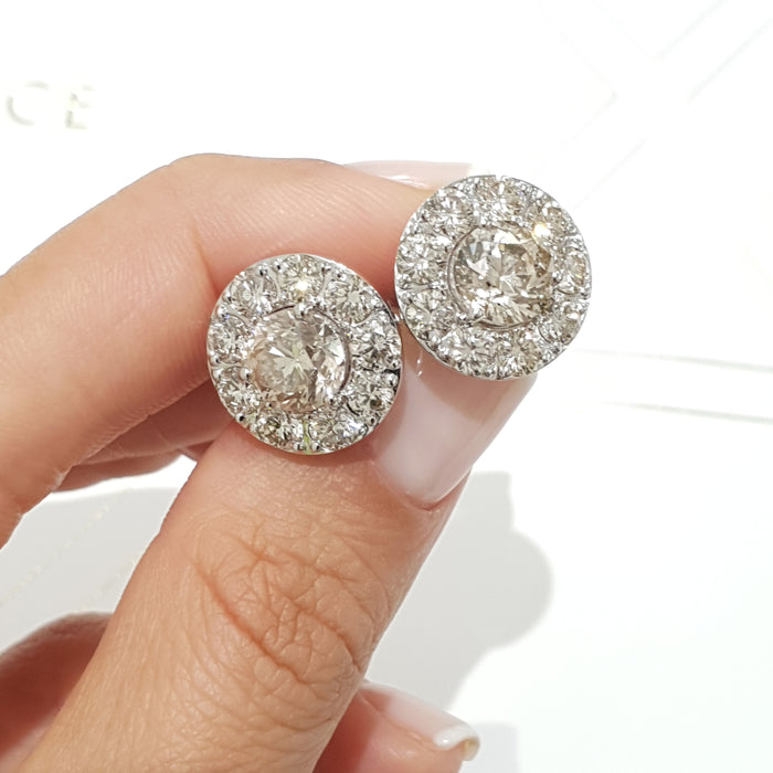 7.65 Carat Diamond Unique Halo Round Style Earrings - 18K White Gold #PT1597