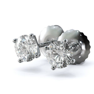 0.5 CARAT F-G COLOR SI CLARITY DIAMOND STUD EARRINGS - CLASSIC 14K WHITE GOLD #E1001