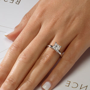 The Isabelle Engagement Ring - 2 CARAT PRINCESS CUT E VS1 SOLITAIRE DIAMOND RING - 14K WHITE GOLD #J99261