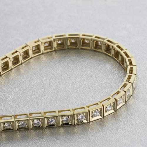 2 Carat E-F VS Natural Diamonds Tennis Bracelet - 14K / 18K Yellow Gold #J99990