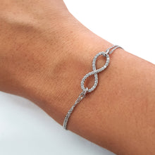 Load image into Gallery viewer, Infinity Style Bracelet set with Diamonds on 14K White Gold #J99977