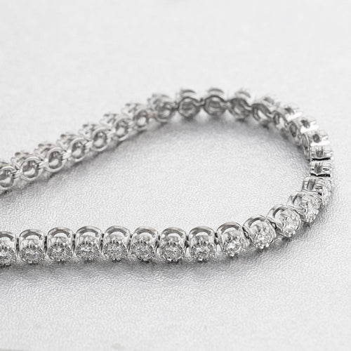 1.5 Carat E-F VS Natural Diamonds Flower Style Tennis Bracelet - 14K / 18K White Gold #J99988