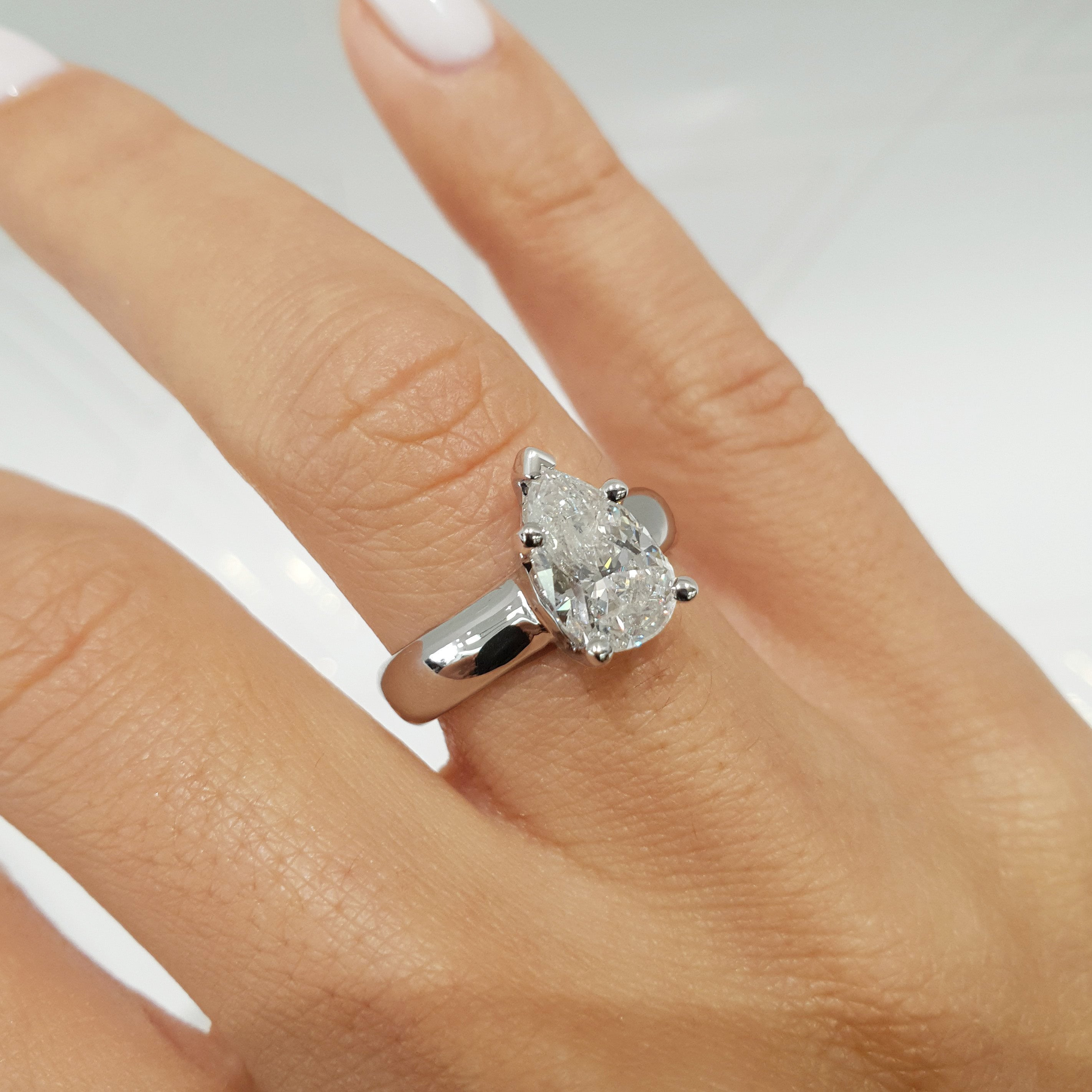 The Hannah Engagement Ring - 1.5 Carat Pear F SI1 - 14K White Gold Diamond Ring #J99175