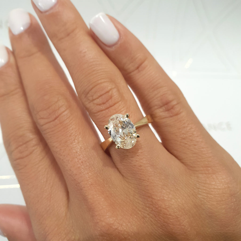 2 Carat Oval G VS2 - 14K Yellow Gold Solitaire Lab Grown Diamond Engagement Ring #LG10003