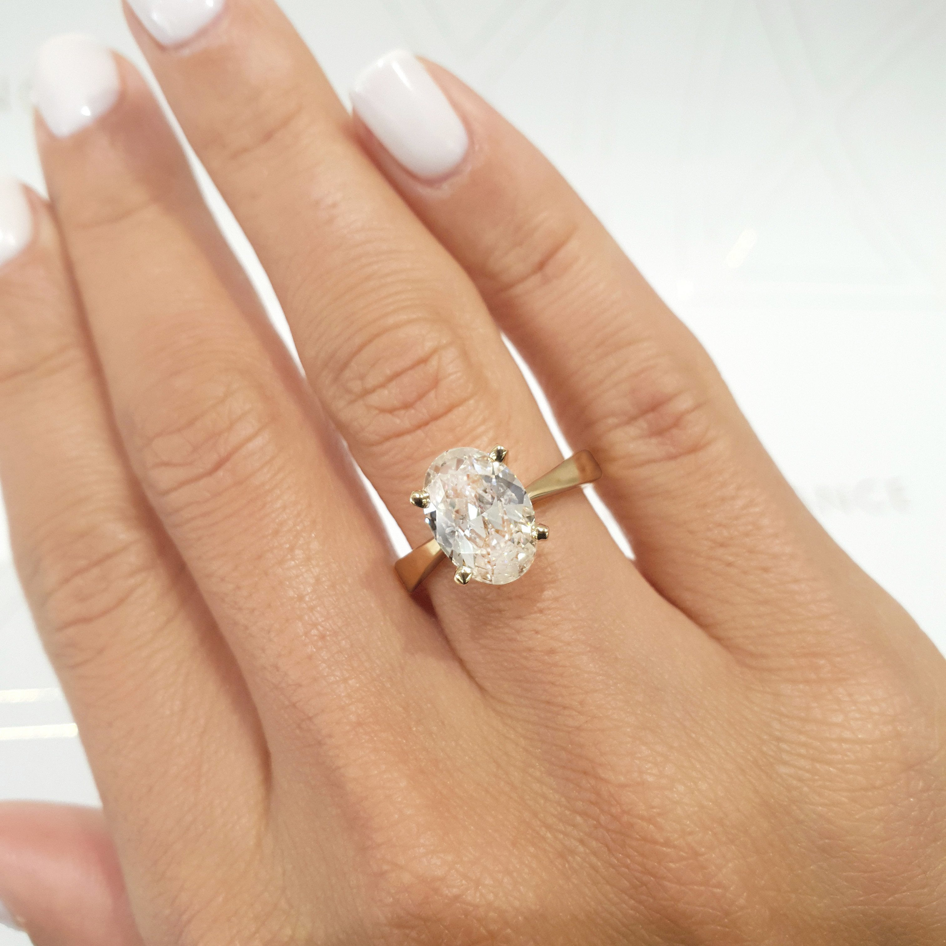 The Diana Engagement Ring  - 2 Carat Oval G VS2 - 14K Yellow Gold Diamond Ring #J99177
