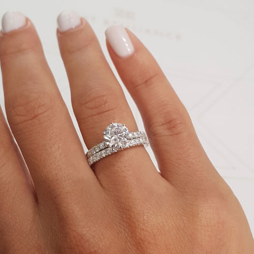 The Jane Bridal Set - 2.5 Carat Round Brilliant E VS2 Diamond Engagement Ring - 14K White Gold #J99119
