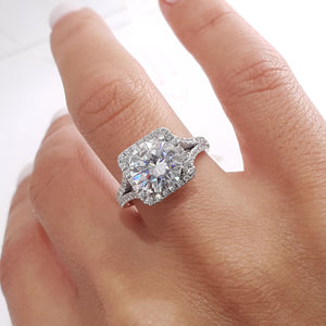 Isla Moissanite & Diamonds Ring - 3 CARAT ROUND HALO DESIGN ENGAGEMENT RING - 14K WHITE GOLD #M10013