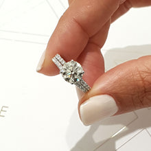 "Load image into Gallery viewer, 2 CARAT E VS2 ""Hidden Halo"" DESIGN ENGAGEMENT & WEDDING RINGS SET - 14K WHITE GOLD #J99179"