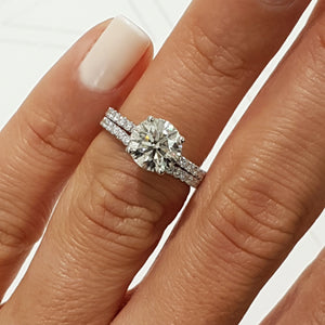 "The Vivienne Bridal Set - 2 CARAT E VS2 ""Hidden Halo"" DESIGN ENGAGEMENT & WEDDING RINGS SET - 14K WHITE GOLD #J99179"