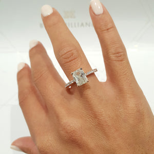 The Audrey Engagement Ring  - 1.8 CARAT RADIANT SHAPED F VS2 DIAMOND 14K ROSE GOLD RING #J99181