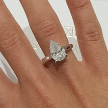 Load image into Gallery viewer, Lab Grown 1.5 Carat Pear E VS1 - 14K White Gold Diamond Engagement Ring #LG10006