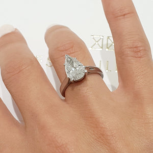 The Jessica Engagement Ring  - 2 Carat Pear D VS2 - 14K White Gold Ring #J99165