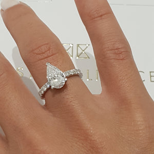2 CARAT LAB GROWN DIAMOND ENGAGEMENT RING PEAR SHAPED F VVS2 - 14K WHITE GOLD #LG10007