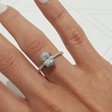 "Load image into Gallery viewer, INCREDIBLE 2.5 CARAT ""HIDDEN HALO"" OVAL FOREVER ONE SET IN 14K WHITE GOLD ENGAGEMENT RING #M10018"