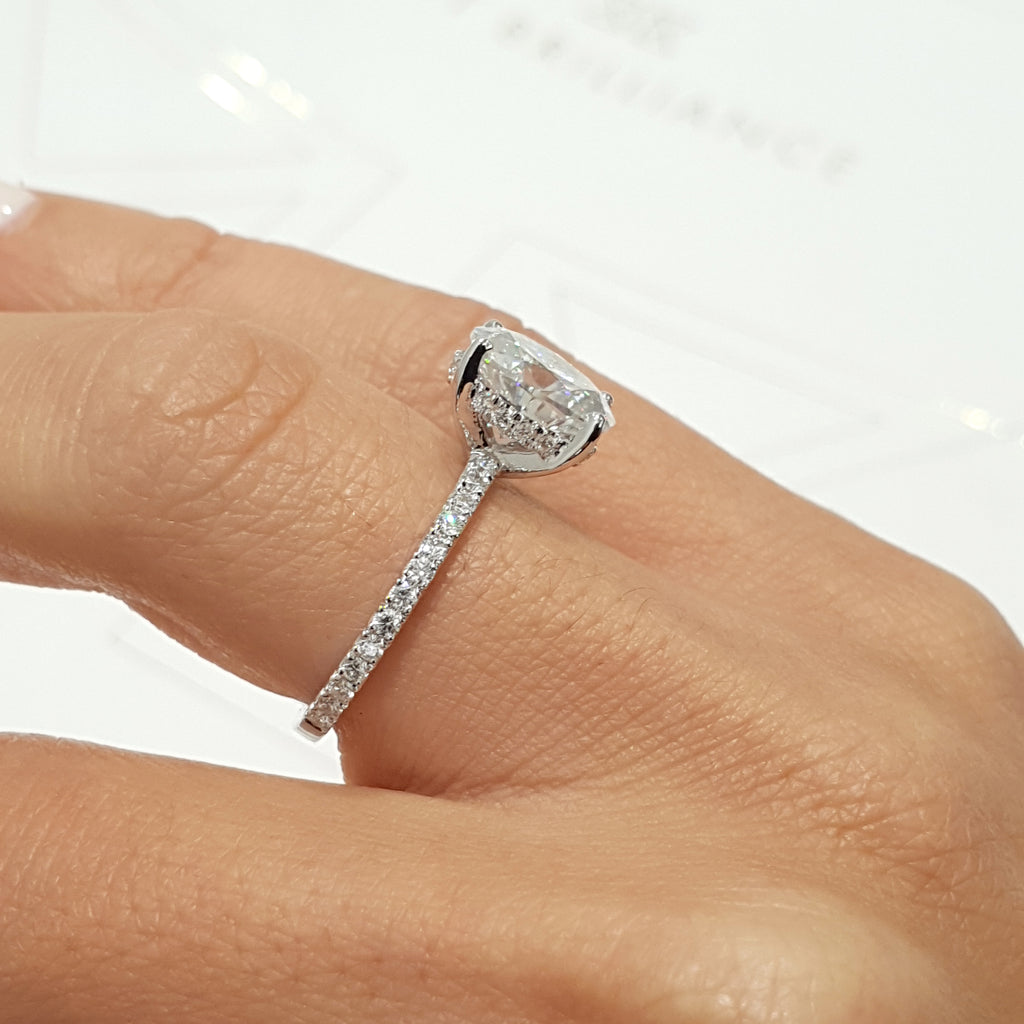 "INCREDIBLE 2.5 CARAT ""HIDDEN HALO"" OVAL FOREVER ONE SET IN 14K WHITE GOLD ENGAGEMENT RING #M10018"