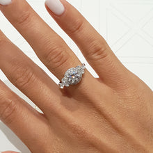 Load image into Gallery viewer, Ivy Moissanite & Diamonds Ring - Vintage Handmade 1.5 Carat Halo Engagement Ring - 14K White Gold #M10020
