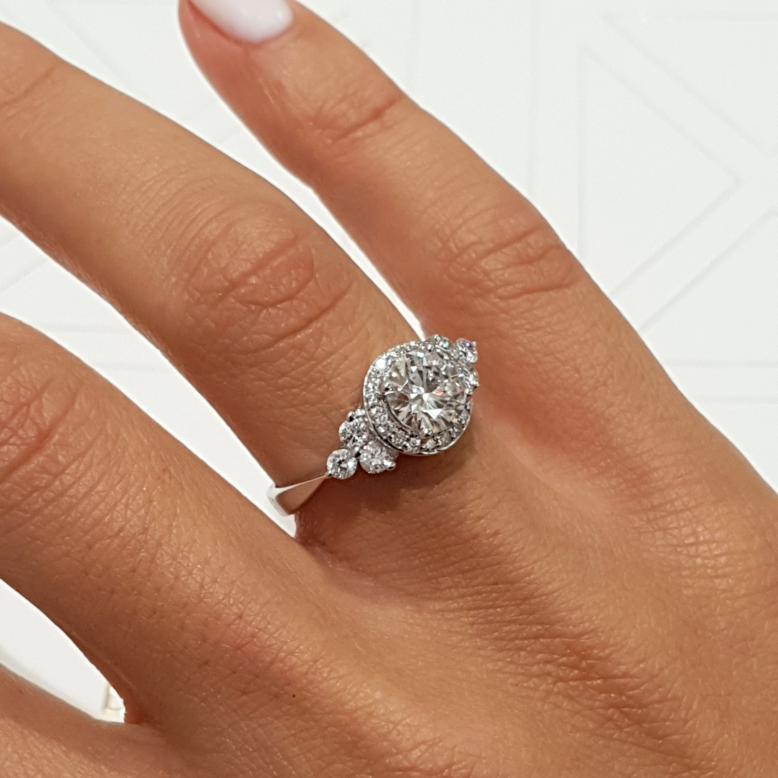 The Ivy Vintage Engagement Ring - 2 Carat F VS2 Halo Ring - 14K White Gold #J99313