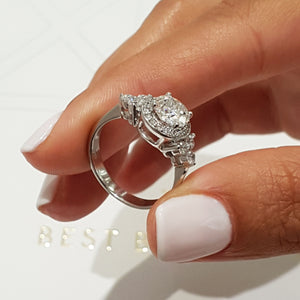 Ivy Moissanite & Diamonds Ring - Vintage Handmade 1.5 Carat Halo Engagement Ring - 14K White Gold #M10020