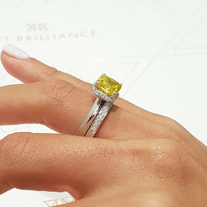 3 CARAT EUROPEAN SET OF FANCY YELLOW ENGAGEMENT RING & MATCHING WEDDING BAND - 18K WHITE GOLD #J99187