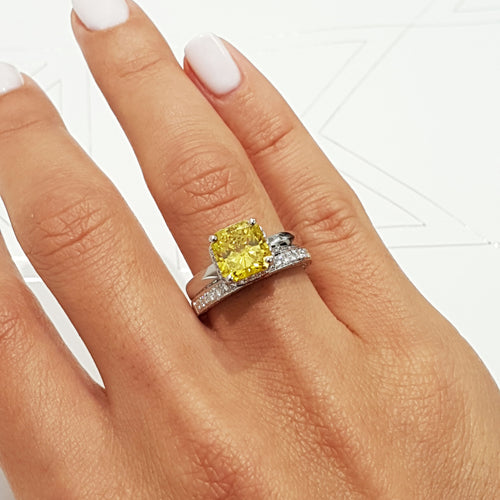 The Zuri Bridal Set - 3 CARAT EUROPEAN Style FANCY YELLOW ENGAGEMENT& WEDDING - 18K WHITE GOLD #J99187