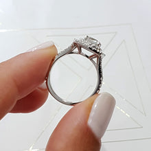 Load image into Gallery viewer, The Tina Engagement Ring - 1.90 Carat Cushion Diamond D VS1 - 14K White Gold Double Halo Split-Shank Ring #J99185