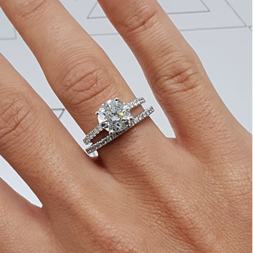 The Anna Bridal Set - 2 Carat Round F VS2 Cut Diamond Engagement & Wedding Rings - 14K White Gold #J99189