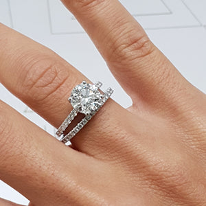 The Stephanie Bridal Set - 2 Carat Round F VS2 Cut Diamond Engagement & Wedding Rings - 14K White Gold #J99189