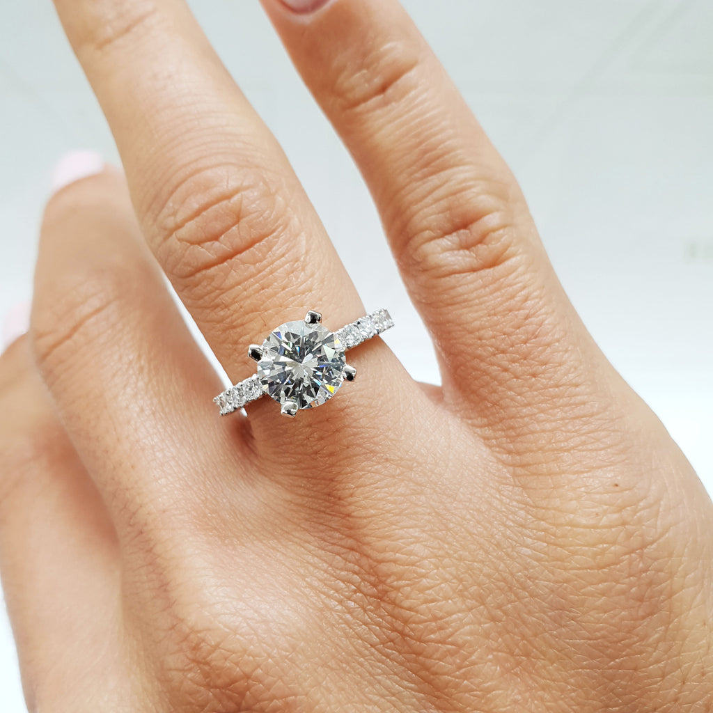 2 CARAT ROUND BRILLIANT CUT PAVE LAB GROWN DIAMOND ENGAGEMENT RING - 14K WHITE GOLD #LG10017
