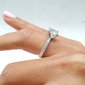 The Alison Lab Grown Ring - 2 CARAT ROUND CUT PAVE DIAMOND ENGAGEMENT RING - 14K WHITE GOLD #LG10017