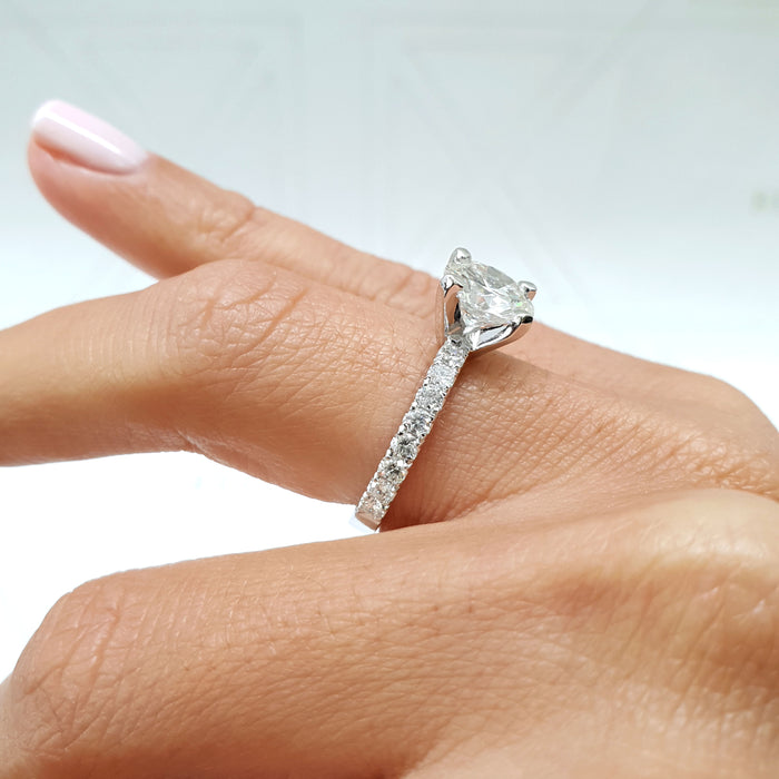2 CARAT ROUND BRILLIANT CUT PAVE DIAMOND ENGAGEMENT RING - 14K WHITE GOLD #J99195