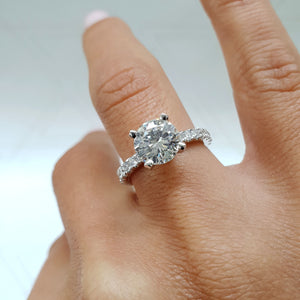 The Alison Engagement Ring <span>2 CARAT ROUND PAVE DIAMOND RING - 14K WHITE GOLD #J99195</span>