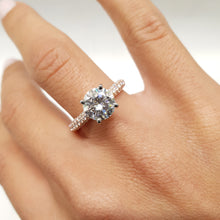 Load image into Gallery viewer, Charlotte Moissanite & Diamonds Ring -  3 CARAT D VVS1 ENGAGEMENT RING - 14K ROSE & WHITE GOLD #M10007