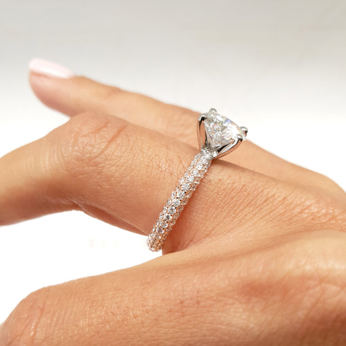 Charlotte Moissanite & Diamonds Ring -  3 CARAT D VVS1 ENGAGEMENT RING - 14K ROSE & WHITE GOLD #M10007