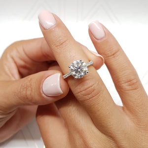 The Anna Engagement Ring - 2.12 Carat F VS2 Round Diamond Ring 14K White Gold #J99196
