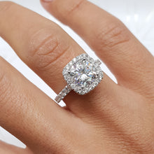 Load image into Gallery viewer, 14K WHITE GOLD CUSHION HALO MOISSANITE & DIAMONDS ENGAGEMENT RING - 3 CARAT CUSHION D VVS1 #M10017