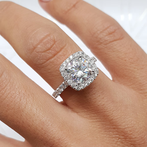 Celeste Moissanite & Diamonds Ring - 14K WHITE GOLD CUSHION HALO ENGAGEMENT RING - 3 CARAT CUSHION D VVS1 #M10017