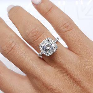 14K WHITE GOLD CUSHION HALO MOISSANITE & DIAMONDS ENGAGEMENT RING - 3 CARAT CUSHION D VVS1 #M10017