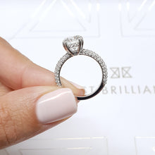 "Load image into Gallery viewer, The Lorena Engagement Ring - 2.5 Carat E VS1 Round ""Hidden Halo"" Design Diamond Engagement Ring - 14K White Gold #J99269"