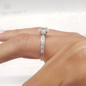 The Talia Engagement Ring  - 1 Carat Oval F VS2 - 14K White Gold Diamond Ring #J99203