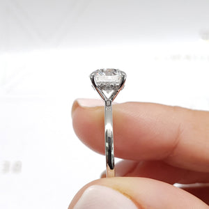 The Cynthia Engagement Ring - Classic Hidden Halo Diamond Ring - 2.1 Carat Round Brilliant Cut D VS1 - 14K White Gold #J99206