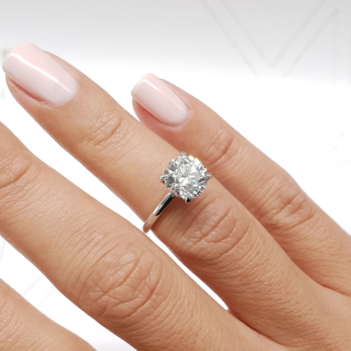 Classic Hidden Halo Diamond Engagement Ring - 2.1 Carat Round Brilliant Cut D VS1 - 14K White Gold #J99206